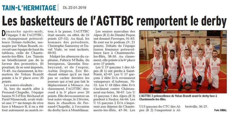 Dauphiné Libéré du 22-01-2019- Basket de Tain-Tournon