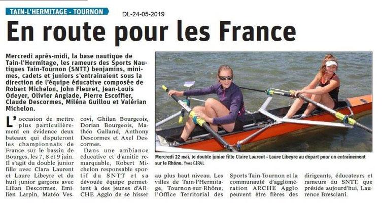 Le Dauphiné Libéré du 24-05-2019- Sport nautiqe Tain-Tournon
