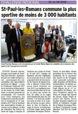 Dauphiné Libéré du 11-04-2018-Saint-Paul les Romans