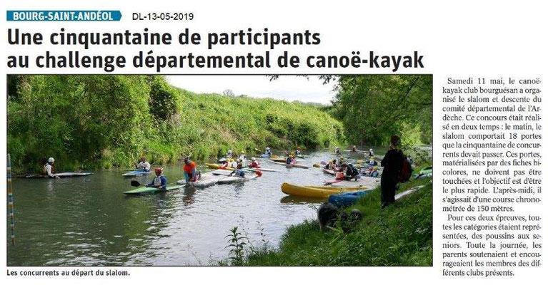 Le Dauphiné Libéré du 13-05-2019- BSA canoë-Kayak