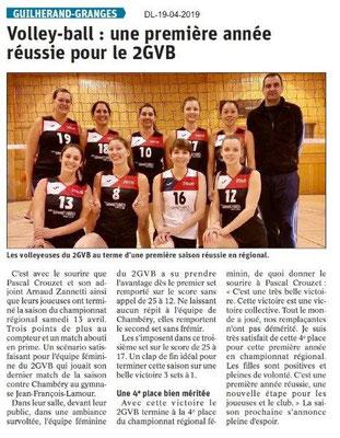 Le Dauphiné Libéré du 19-04-2019- Volley-ball de Guilherand