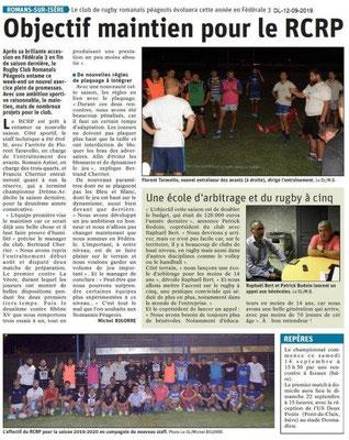Dauphiné libéré du 12-09-2019- Rugby Romanais péageois