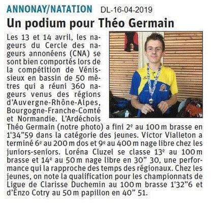 Le Dauphiné Libéré du 16-04-2019- Natation Annonay
