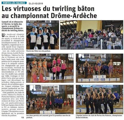 Dauphiné Libéré du 20-02-2019- Twirling Bâton à PLV
