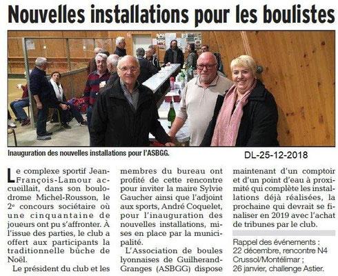 Dauphiné Libéré du 25-12-2018- Inauguration boulistes ASBGG