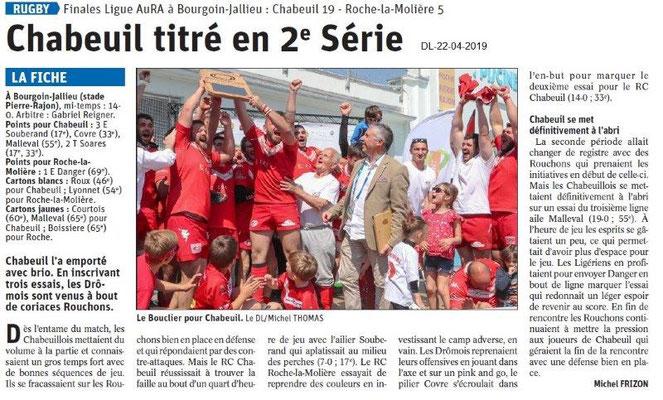 Le Dauphiné Libéré du 22-04-2019- Rugby de Chabeuil