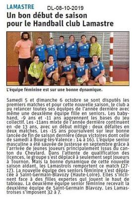 Dauphiné libéré du 08-10-2019- Handball Club de Lamastre