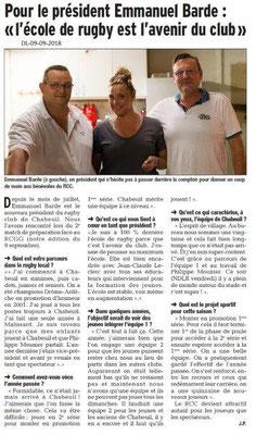 Dauphiné Libéré du 09-09-2018- Ecole de rugby à Chabeuil