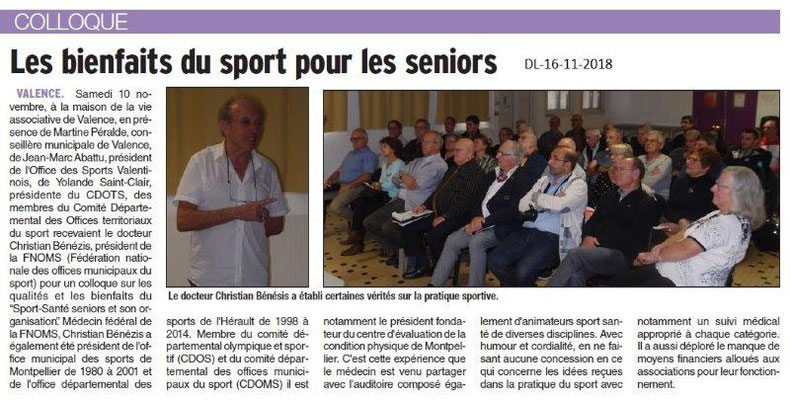 Dauphiné Libéré du 16-11-2018- Sport Santé, Sport Seniors