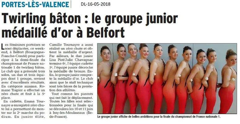 Dauphiné Libéré du 16-05-2018- Twirling Bâton Portois