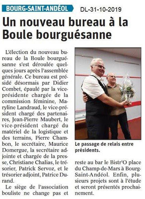 le Dauphiné Libéré du 31-10-2019- La boule de BSA