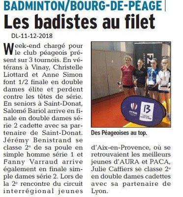 Dauphiné Libéré du 11-12-2018- Les badistes filles du Club Péageois