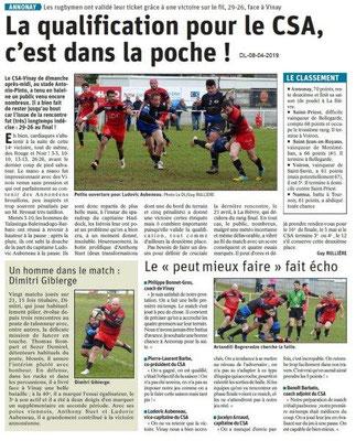 Le Dauphiné Libéré du 08-04-2019- Rugbymen d'Annonay