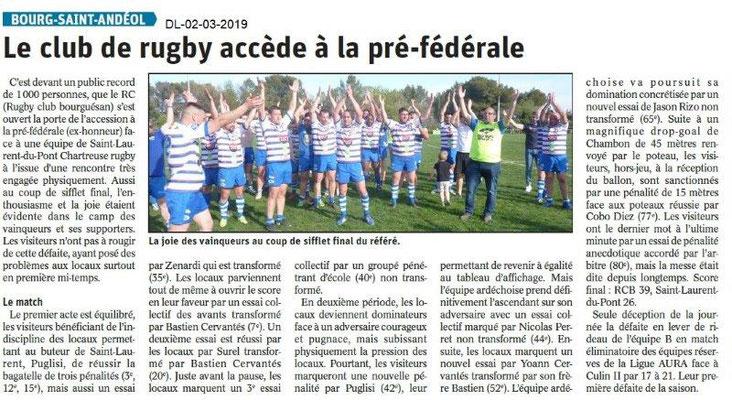 Le Dauphiné Libéré du 02-04-2019- Rugby Bourg Saint-Andéol
