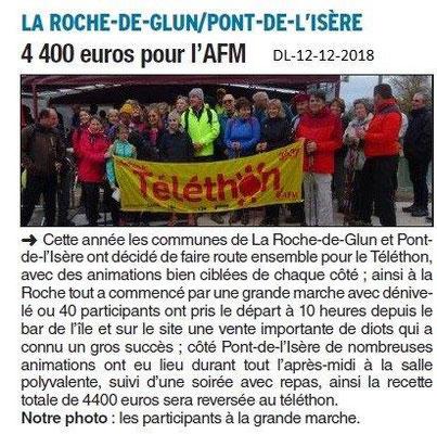 Dauphiné Libéré du 12-12-2018- Téléthon à La Roche de Glun