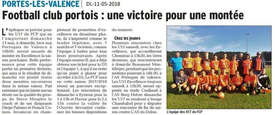 Dauphiné Libéré du 11-05-2018- Football Club Portois
