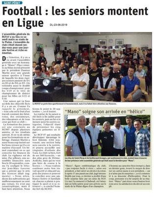 Dauphiné Libéré du 23-06-2019- Foot de Guilherand