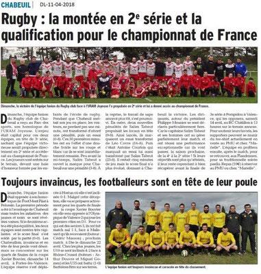 Dauphiné Libéré du 11-04-2018-Rugby et Foot-Chabeuil
