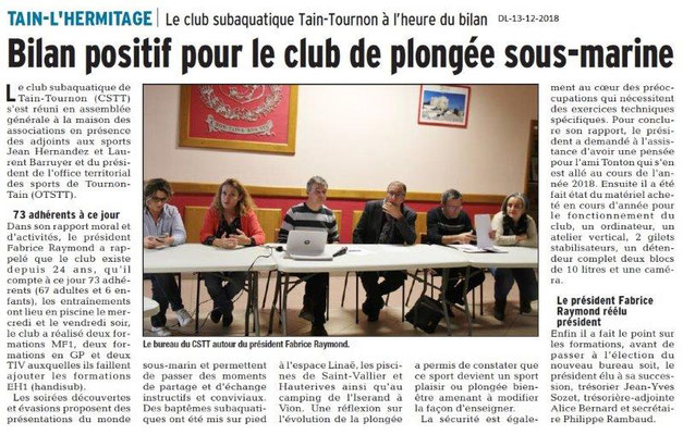 Dauphiné Libéré du 13-12-2018- Club subaquatique de Tain-tournon