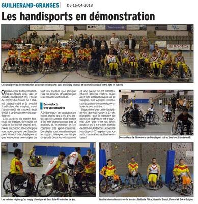 Dauphiné Libéré du 16-04-2018-Handisport Rugby à XIII-Guilherand Granges