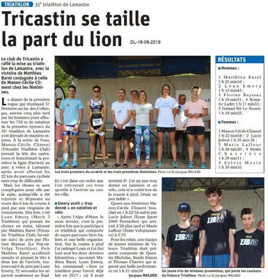 Dauphiné Libéré du 18-08-2019- Lamastre Résultats 35e triathlon