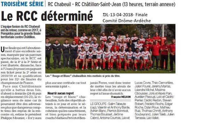 Dauphiné Libéré du 13-04-2018-Finale Rugby-Chabeuil