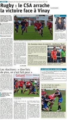 le Dauphiné Libéré du 29-10-2019- Rugby d'Annonay