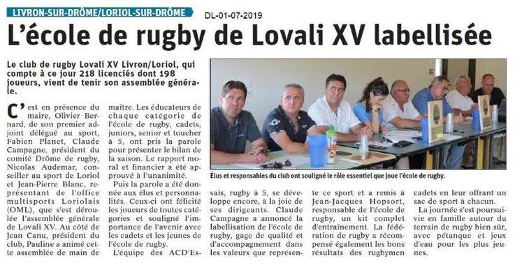 Dauphiné Libéré du 01-07-2019- Lovali XV