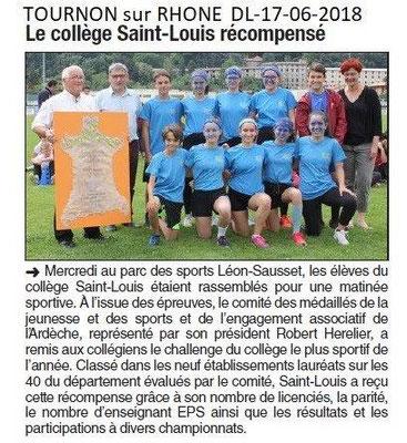 Dauphiné Libéré du 17-06-2018- Collège le plus sporti