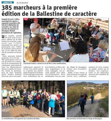Le Dauphiné Libéré du 22-04-2019- La ballestine à Lamastre