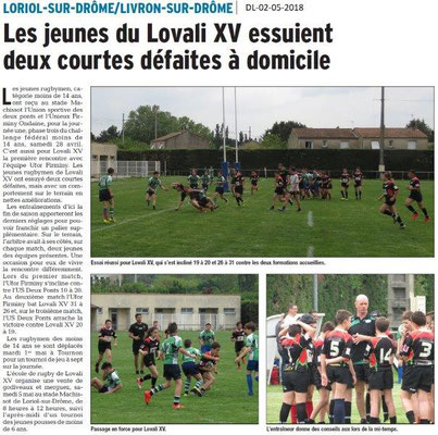 Dauphiné Libéré du 02-05-2018-Rugby Loriol