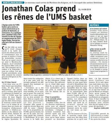 Dauphiné Libéré du 14-06-2019- Basket de Montélimar