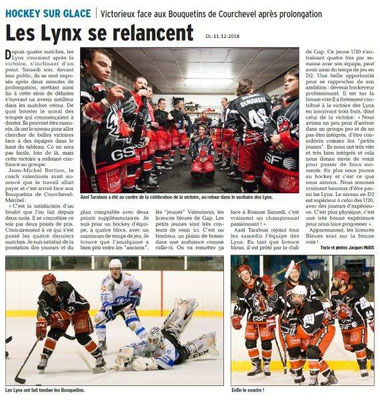 Dauphiné Libéré du 11-12-2018- Les Lynx à Valence