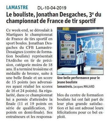 Le Dauphiné Libéré du 10-04-2019- Tir sportif de Lamastre