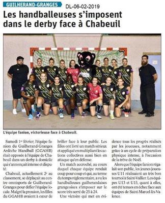 Dauphiné Libéré du 06-02-2019- Handballeuses de Guilherand
