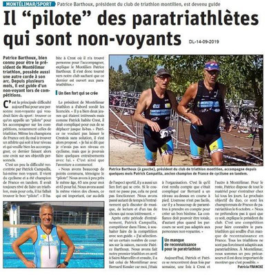 Dauphiné libéré du 14-09-2019- Paratriathlète à Montélimar