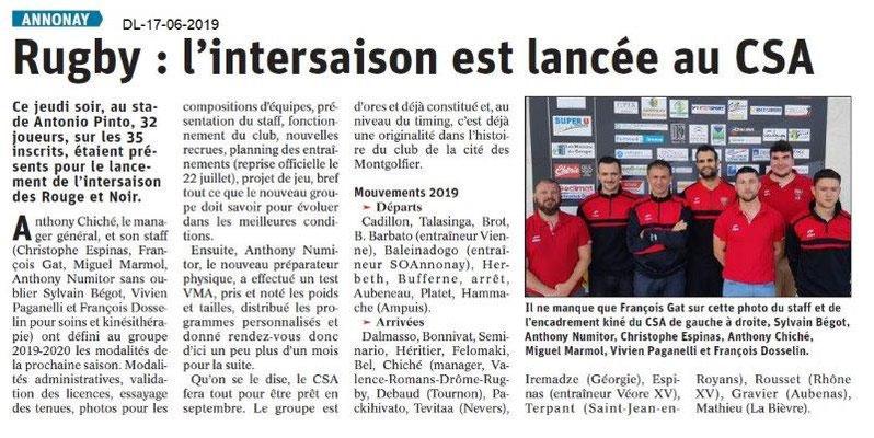 Dauphiné Libéré du 17-06-2019- Rugby d'Annonay