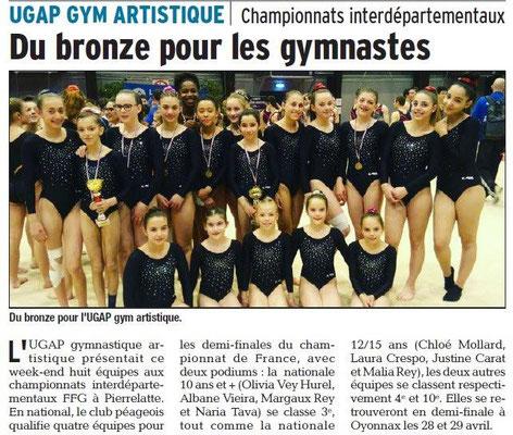 Dauphiné Libéré du 20-03-2018-UGAP GYM Artistique-Bourg de Péage