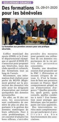 Dauphiné Libéré du 29-01-2020- Formations OMS Guilherand