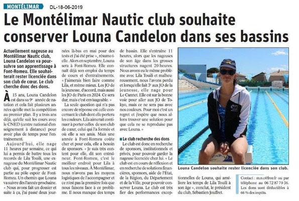 Dauphiné Libéré du 18-06-2019- Montélimar Nautic