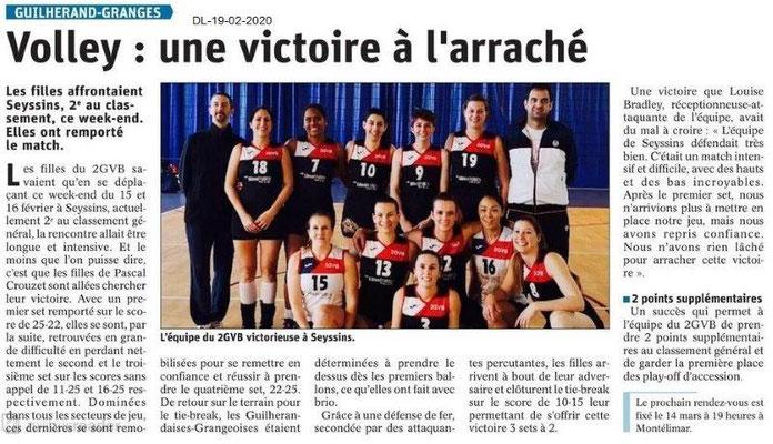 Dauphiné Libéré du 19-02-2020- Volley Guilherand