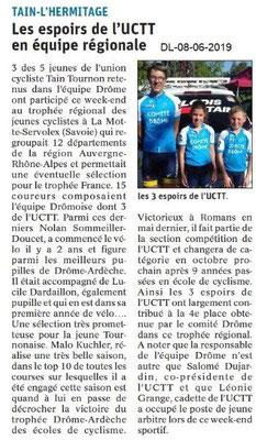 Dauphiné Libéré du 08-06-2019- Equipa espoir de l'UCTT