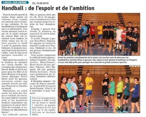 Dauphiné Libéré du 10-08-2019- Hanball à Loriol