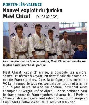 Le Dauphiné Libéré du 05-02-2020-Championnat France judo JuniorsPLV