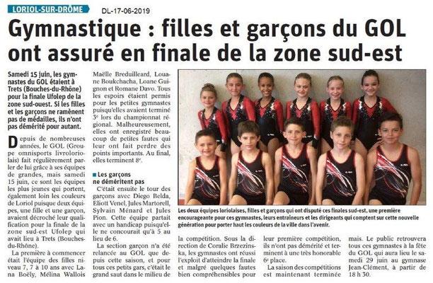 Dauphiné Libéré du 17-06-2019- Les gymnastes de Loriol.