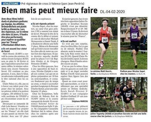 Le Dauphiné Libéré du 04-02-2020- Athlétisme à Valence
