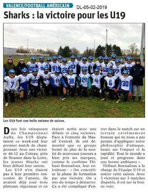 Dauphiné Libéré du 05-02-2019- Football Américain à Valence