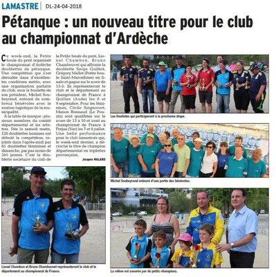 Dauphiné Libéré du 24-04-2018-Pétanque à Lamastre