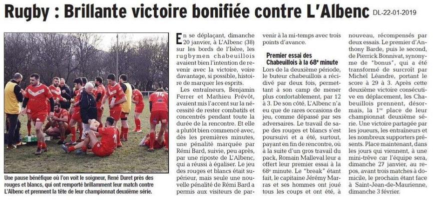 Dauphiné Libéré du 22-01-2019- Rugby à Chabeuil