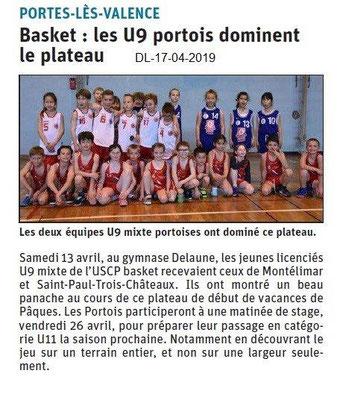 Le Dauphiné Libéré du 17-04-2019- Basket Portois